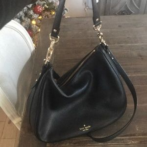 Kate Spade Black Leather 2-way crossbody hobo bag